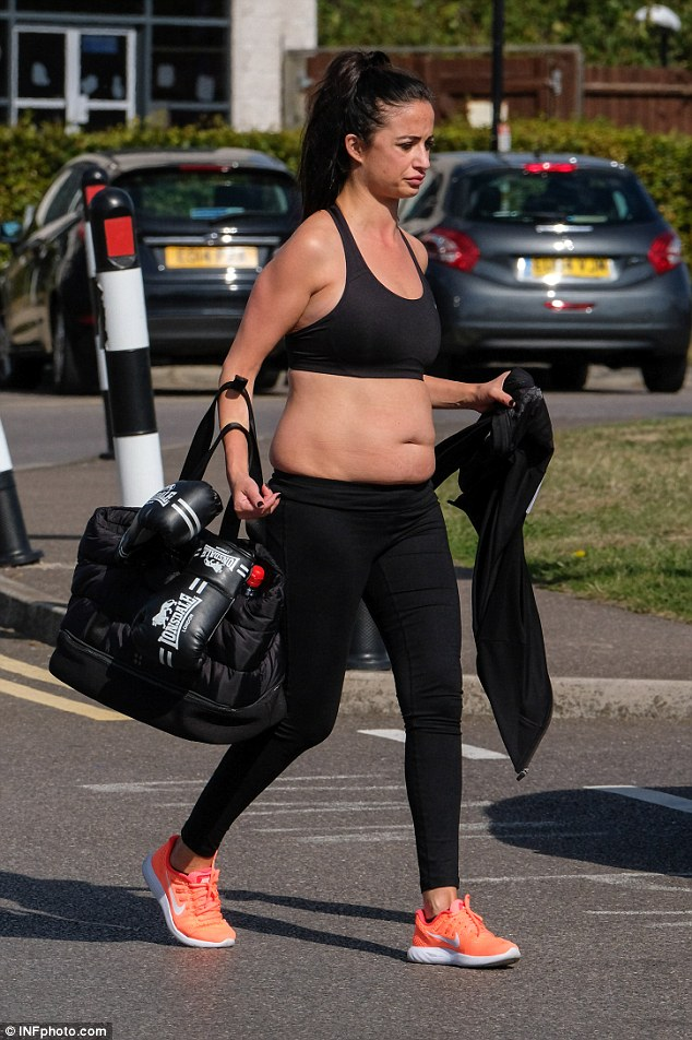 Getting ready: Chantelle proudly showed off her figure as she prepared for the workout