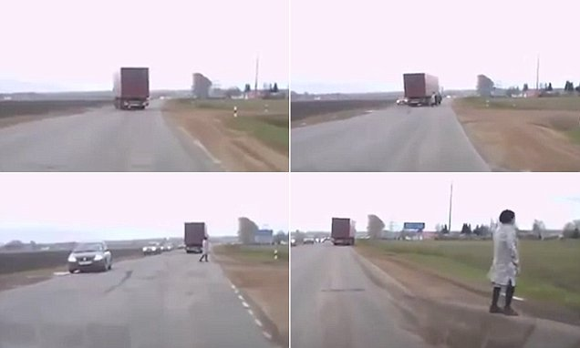 Russian lorry driver swerves to avoid ghost-like man on road