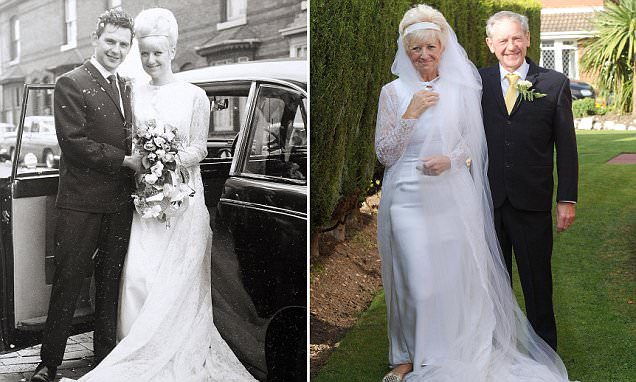 Couple celebrate 50th anniversary by wearing same outfits they wore on wedding day