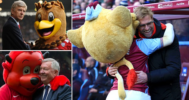 Managers and mascots: From Jurgen Klopp and the Aston Villa lion to Sir Alex Ferguson and