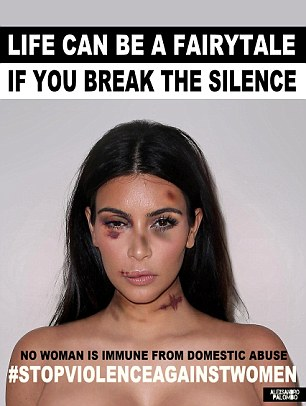 Anti-abuse: Kim Kardashian and Kendall Jenner both took part in a provocative campaign against domestic abuse in 2015. Duvier usually guards Kim but was with Kendall when the robbery happened.