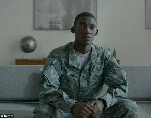 Hitting the target: Malachi Kirby meanwhile is a soldier who finds himself fine tuning his killing ability but are his kills real or virtual?