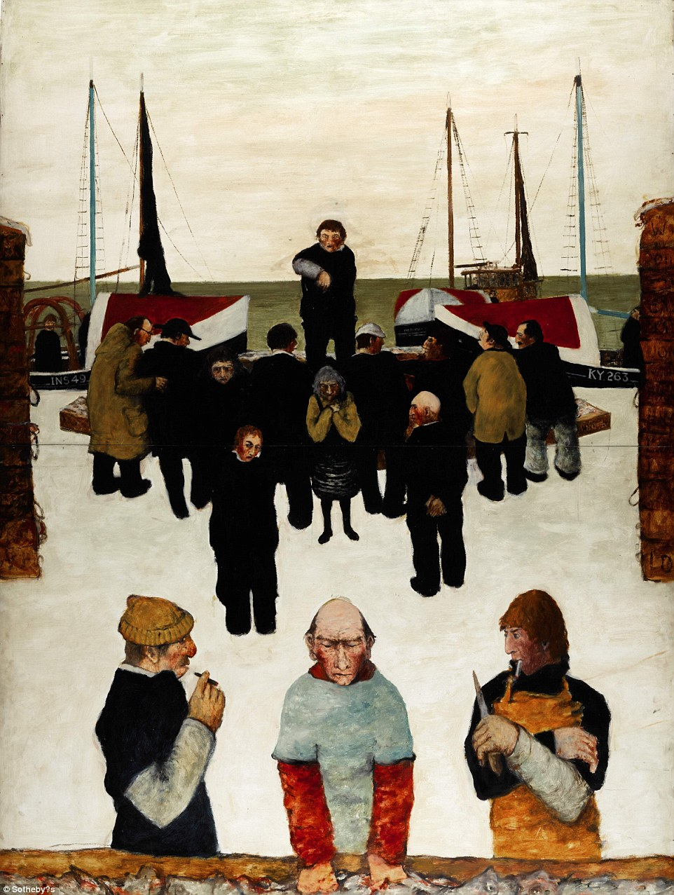 Bowie bought John Bellany's Fishermen in the Snow in 1993 as one of the first pieces he bought at auction. The singer was fascinated by Bellany's upbringing in the traditional fishing community of Port Seton, Scotland. This piece will fetch between £12,000 and £18,000