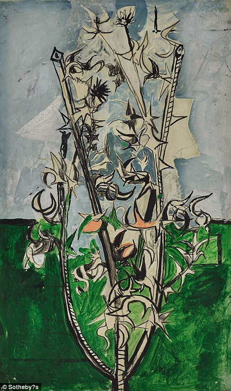 Graham Sutherland's Thorn Bush created in crayon, charcoal and ink, is thought to be able to fetch between £25,000 and £35,000
