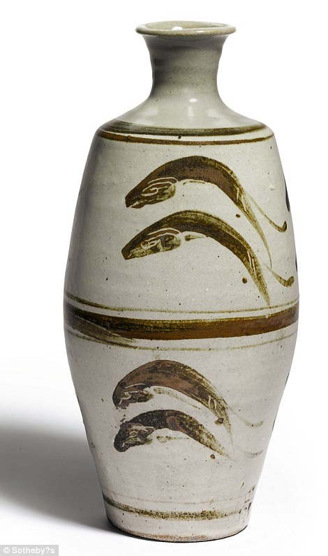 Bowie's collection does not just include paintings, but this vase with leaping fish design, by Bernard Leach and the Japanese potter Shoji Hamada. Leach and Hamada opened a pottery studio to challenge the ideas of the declining craft in the country