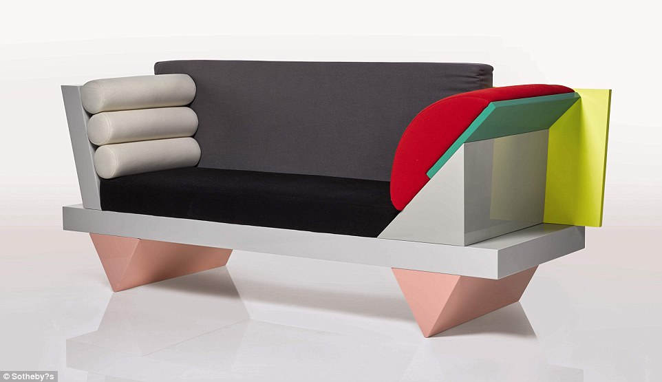 The'Big Sur' Sofa, designed 1986, by Peter Shire will go for between £3,000 and £5,000 according to Sotheby's auctioneers