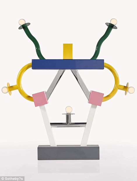 'Ashoka' Lamp, named after an ancient Indian emperor, this lamp design references traditional candle sticks, and like his 'Casablanca' cabinet, has individually coloured parts extending from a central element. This is also by Ettore Sottsass, and worth between £800 and £1,200