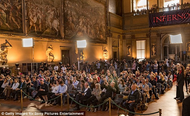 Stunning: The photo call took place at the Palazzo Vecchio (or the Hall of the Five Hundred) in Florence, Italy - in keeping with the movie's historic location