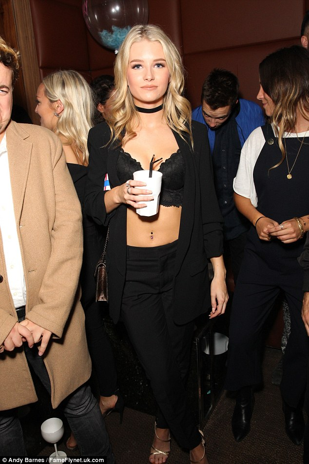 Model body: Kate Moss' half sister exposed her bra with her blazer worn open at In The Style's exclusive party