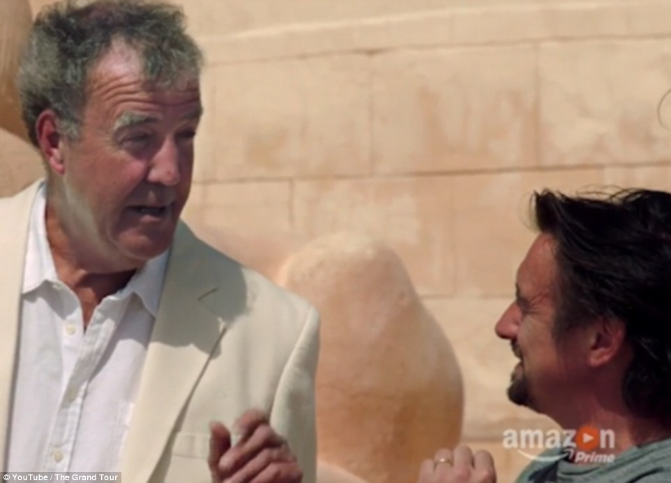 Clarkson was also seen wearing a cream suit and joked: 'Looking good is more important than where you're going'
