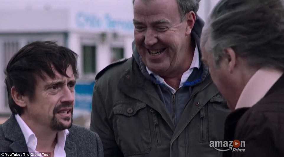 PresenterRichard Hammond (left) was sporting a new look and asked James May )right) which arm he had broken