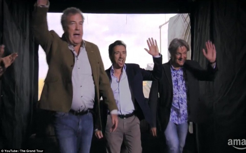 The famous trio were met with huge applause as they walked out to present the new show on the official trailer
