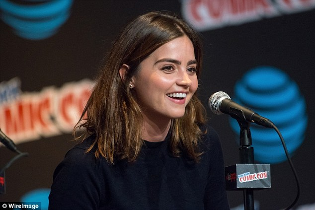 Stylish star: The British actress, 30, looked casually pretty in a chic black top as she spoke at the panel discussion