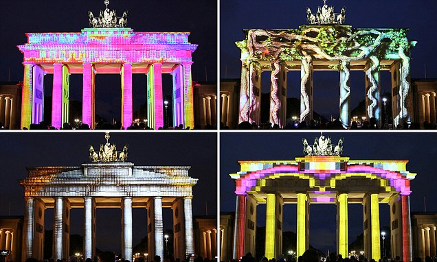Berlin's Brandenburg Gates gets a psychedelic makeover in German capital's Festival of