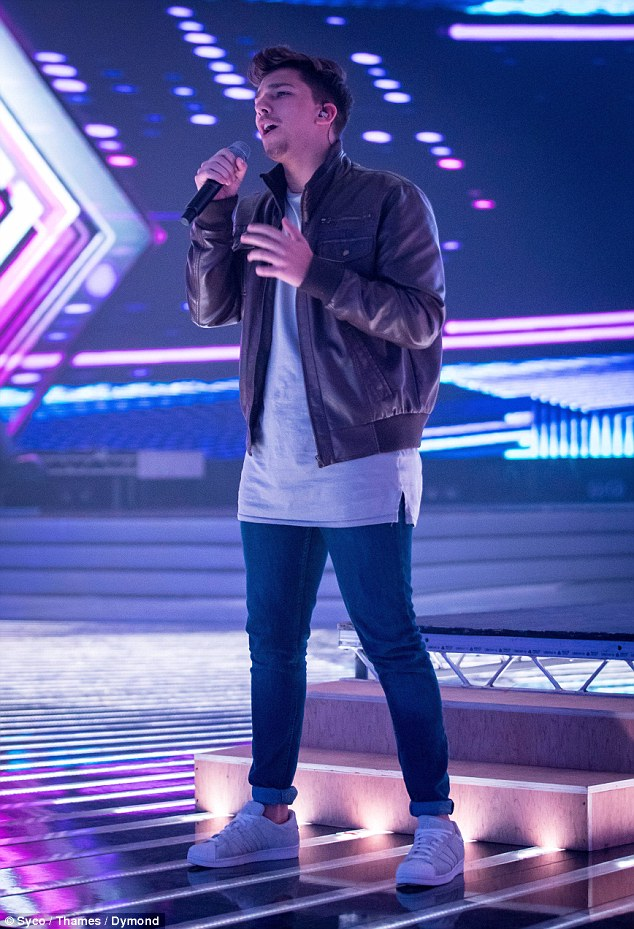 Flaunting his vocals: He sang his heart out in a bid to perfect his performance ahead of the live TV shows this weekend