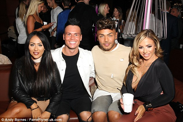 Crew: The cousin of Marnie Simpson was joined by her Geordie Shore co-stars Nathan Henry and Holly Hagan