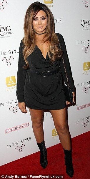 Back to brunette:Also in attendance was co-star Chloe Ferry - who debuted her darker balayage locks after dying her hair platinum blonde last month