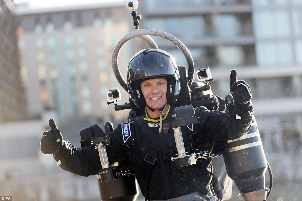 The developers claim the JB-10 JetPack (pictured) can have a range of applications and uses but they believe it may appeal to those hoping to live out their James Bond fantasies