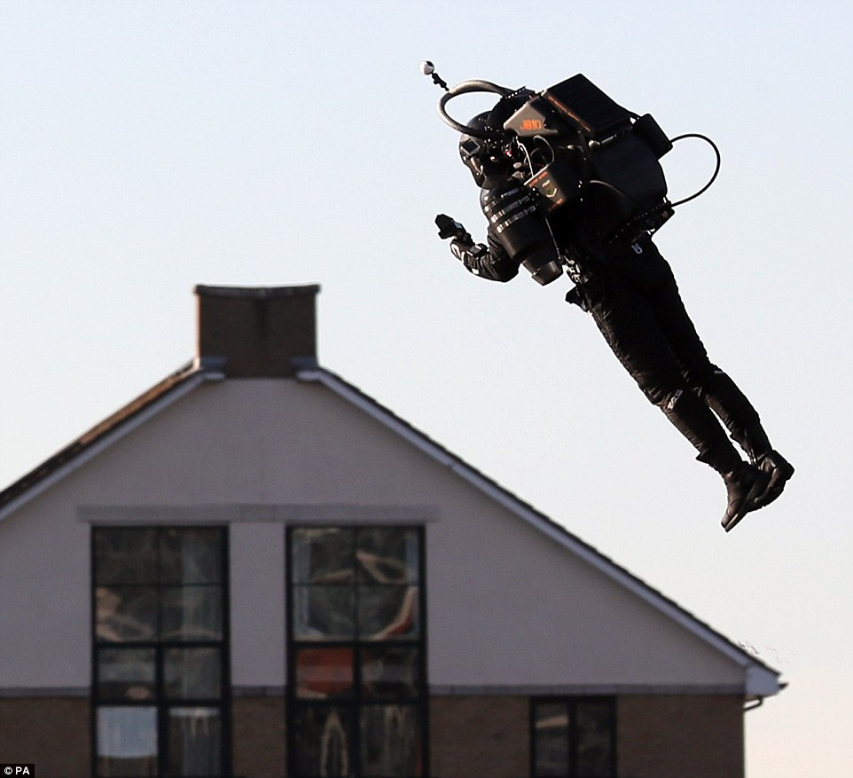 The team are also hoping to develop a new sport - jetpack racing when the technology (pictured) becomes more widely available