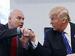 CORRECTS SPELLING OF DEL CUETO - Republican presidential candidate Donald Trump shakes hands with Art Del Cueto during a meeting with members of the National Border Patrol Council at Trump Tower, Friday, Oct. 7, 2016, in New York. (AP Photo/ Evan Vucci)