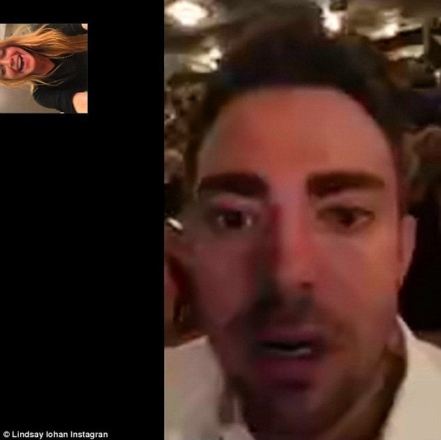 Still friends: On Thursday Lindsay Lohan posted a FaceTime screen shot on Instagram as she chatted to Jonathan Bennett, who played her love interest  in the 2004 hit Mean Girls