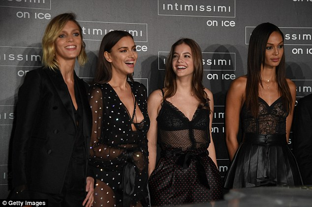 Here come the girls: Irina shared plenty of laughs with fellow models Anja Rubik, Barbara Palvin and Joan Smalls