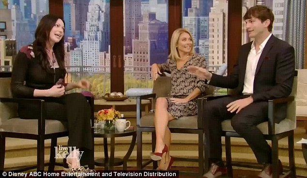 Upset: Ashton Kutcher took Laura Prepon to task during his guest co-hosting gig on Live! With Kelly on Friday over her 'secret' engagement to Ben Foster