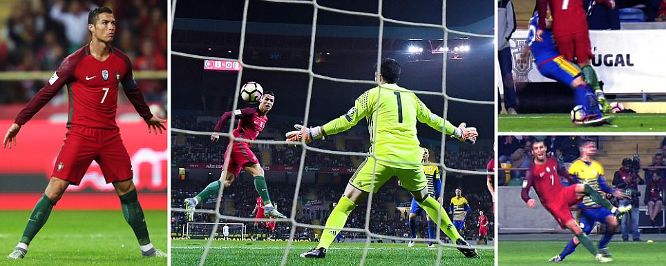 Portugal 6-0 Andorra: Cristiano Ronaldo scores FOUR in rout as minnows have two men sent