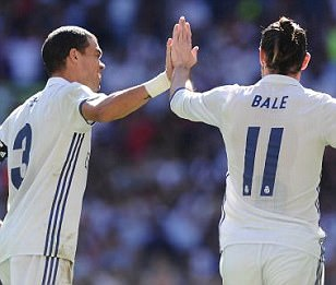 Gareth Bale celebrates scoring against Eibar in La Liga earlier this season