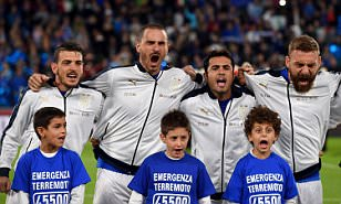 Italy players and mascots show the passion of football by belting out national anthem