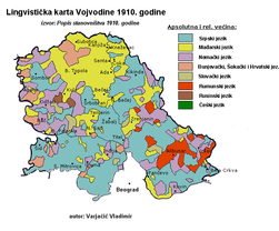Linguistic map of Vojvodina, Serbia (based on 1910 census).png