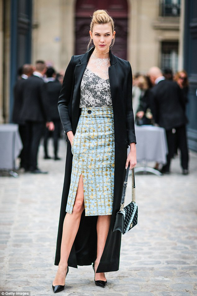 Poised and polished: Karlie Kloss, 24, was tailored to perfection at the Christian Dior spring/summer 2017 show this week