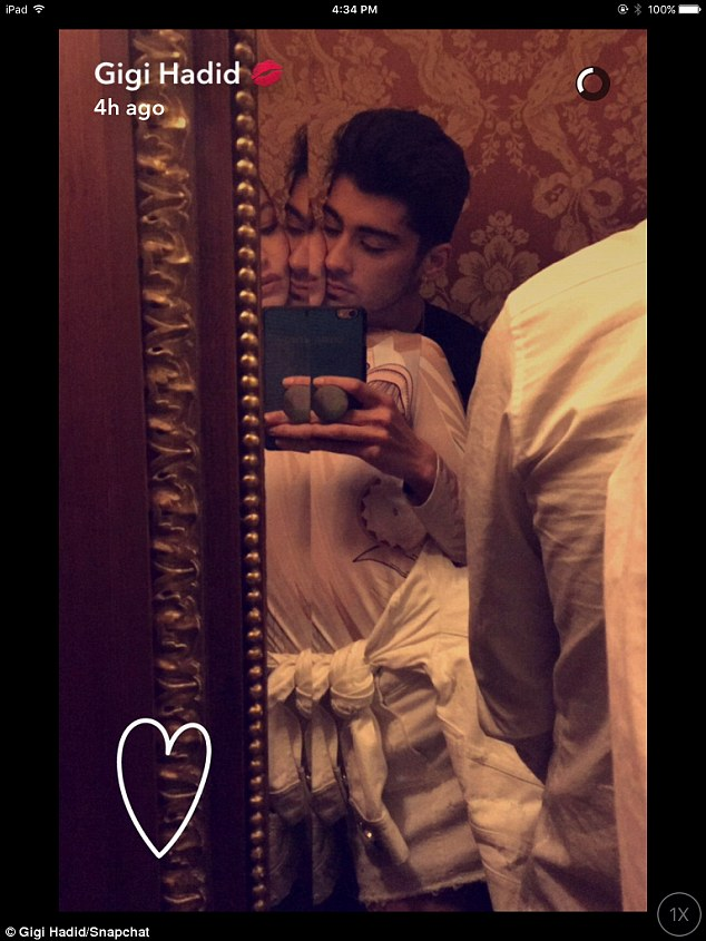 So in love: Gigi posted a Snapchat of the pair snuggling up to one another