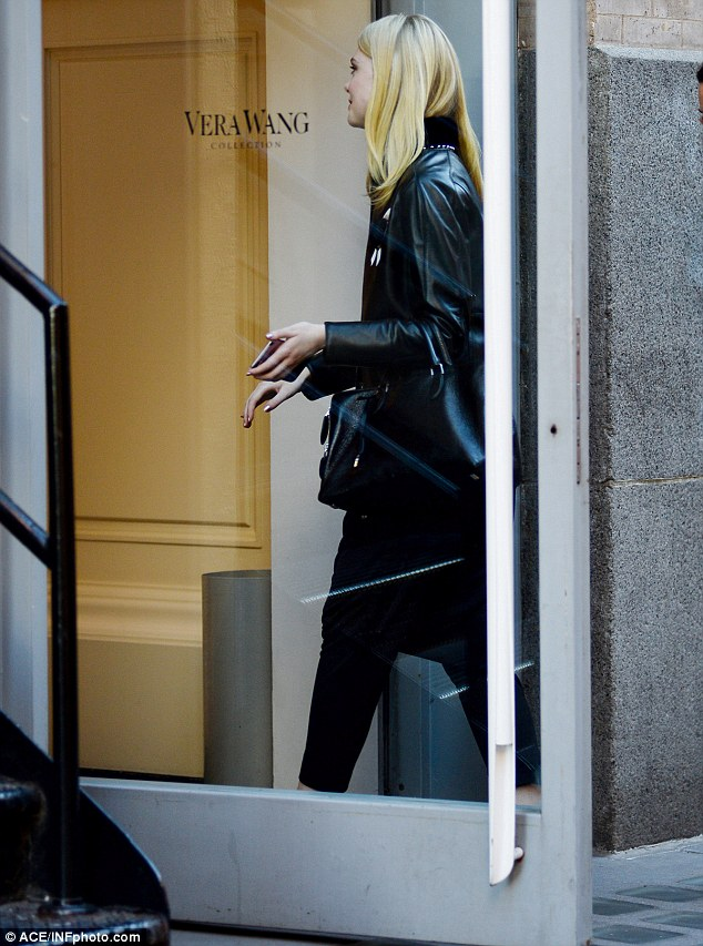 Sightseeing: The 18-year-old stopped off at the Vera Wang boutique on Mercer Street