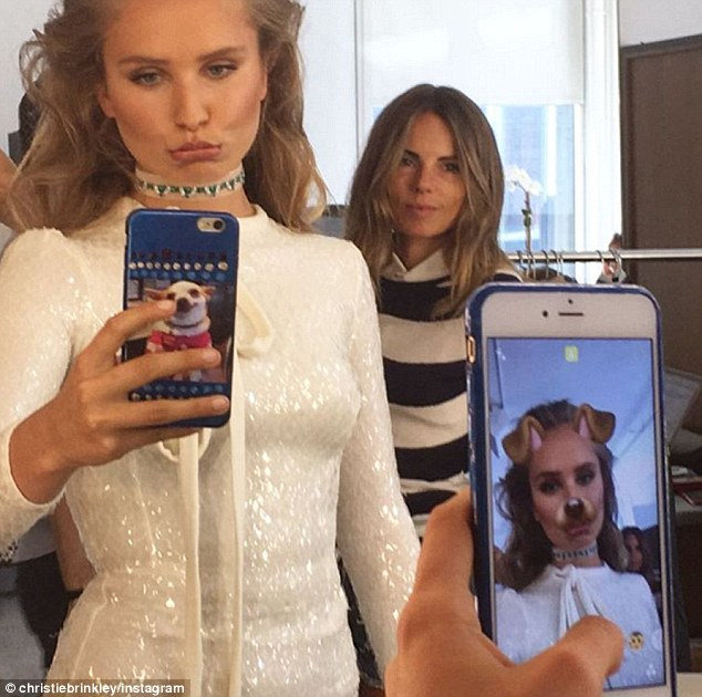 She's hip with Snapchat: The catwalk queen shared this image of Sailor with a dog face