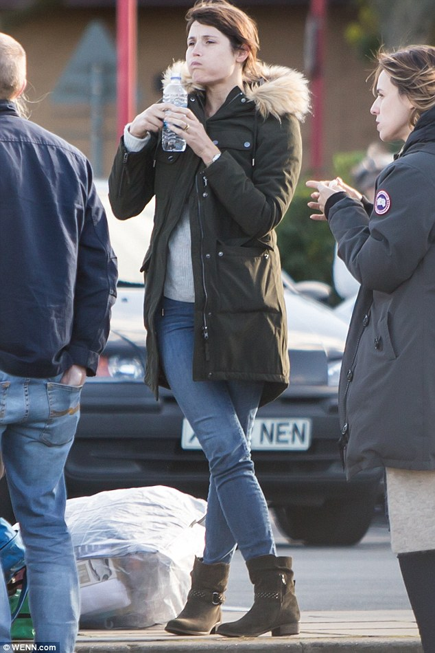 Fuel: Gemma rehydrated with a bottle of water after a busy day filming multiple scenes