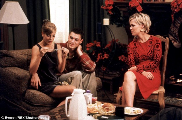 Screen stars: Tori (left) and Jenni (right) starred as best friends Donna and Kelly - pictured with Brian Austin Green