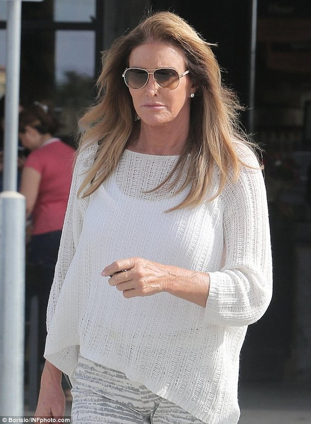 Stylish: Caitlyn kept her make-up light, adding just a splash of pale pink lip color and a dusting of blusher, and wore her shoulder-length brown hair loose