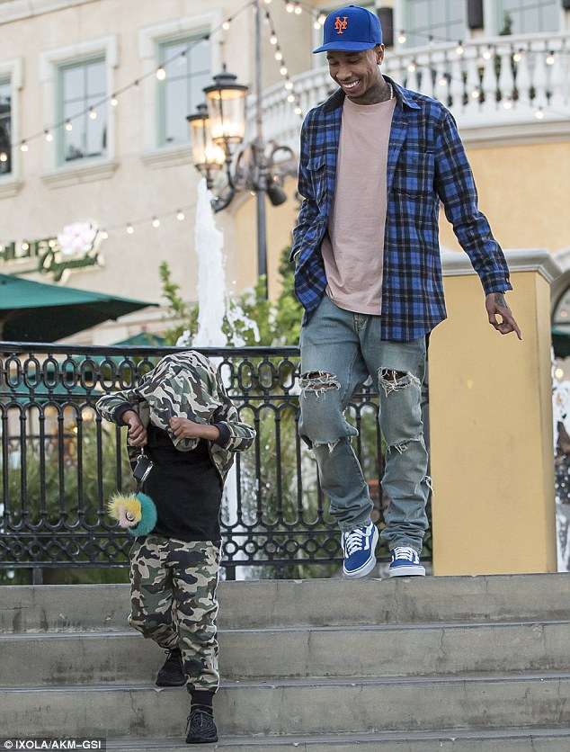 His pride and joy: The rapper, 26, was seen laughing at his son with Blac Chyna's silly antics