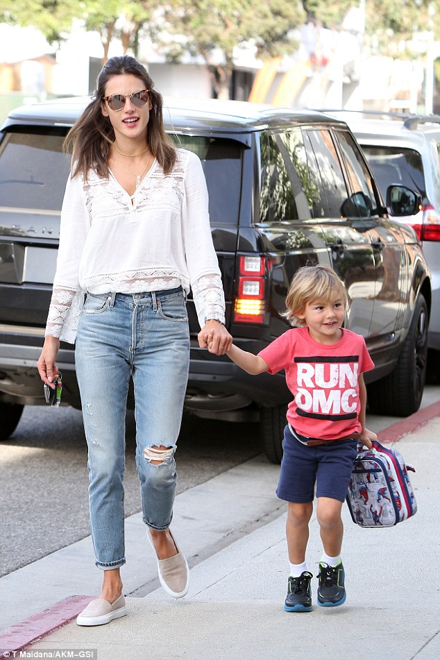 Stylish mom alert: Alessandra Ambrosio showed how you can be casually chic as she took little Noah to school in Santa Monica, california, on Friday