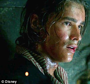 The blood-dripping Salazar holds Sparrow's 'Wanted' poster and instructs new character Henry, played by Brendan Thwaites, to inform Cap'n Jack that 'Death comes straight for him'