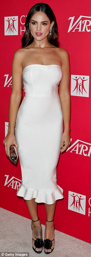 A vision in white: Last week, the starlet stepped out in a fitted dress for Variety's 10 Latinos To Watch ceremony; pictured on September 28 in West Hollywood