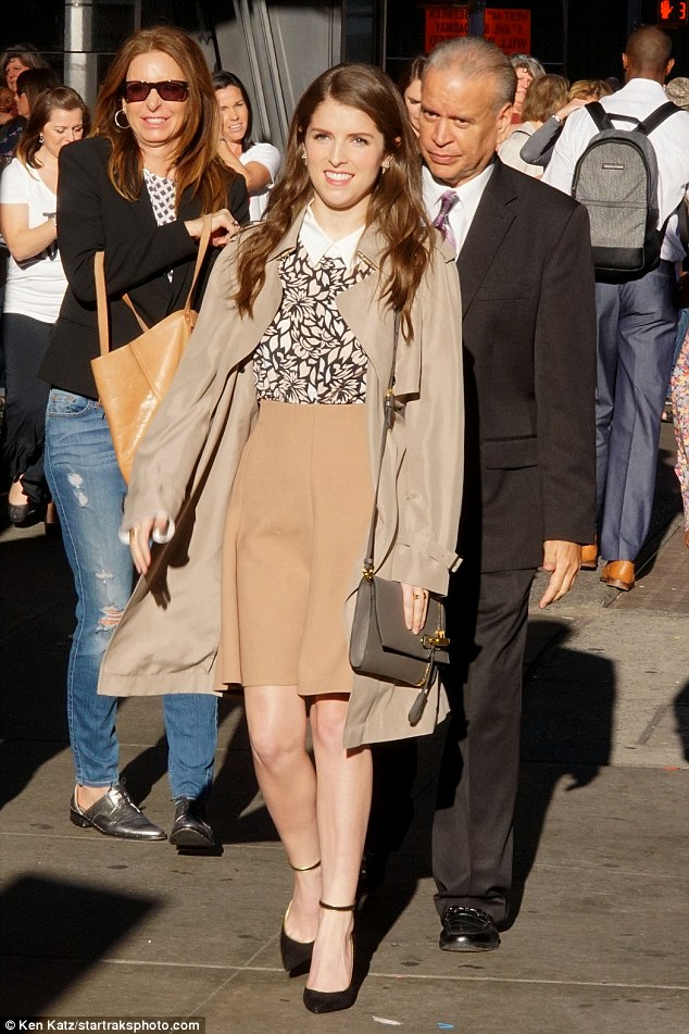 Moving on: After her chat on GMA, the Pitch Perfect star walked to Extra's studios at the H&M  store in Times Square