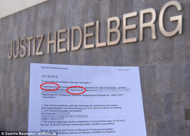 Bankruptcy: Official documents revealed that Duvier filed for insolvency for his ProtectSecurity firm on July 22 in his German hometown of Heidelberg.