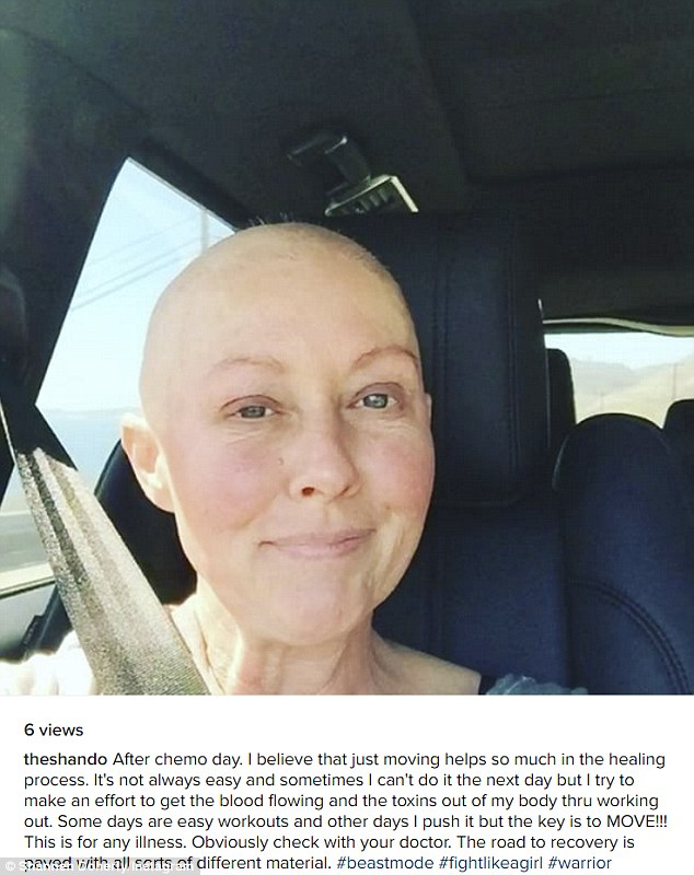 Working out: Shannen Doherty shared an Instagram video on Thursday of herself headed to a workout a day after chemotherapy