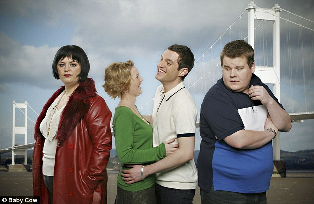Comedy beginnings: James 's character Smithy proved popular among fans of his BBC sitcom Gavin & Stacey which he co-wrote with co-star Ruth Jones (far left)