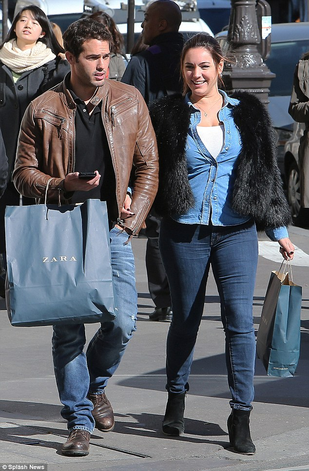 Denim dream: The 36-year-old model rocked a double denim ensemble as she enjoyed a day of shopping with her beau