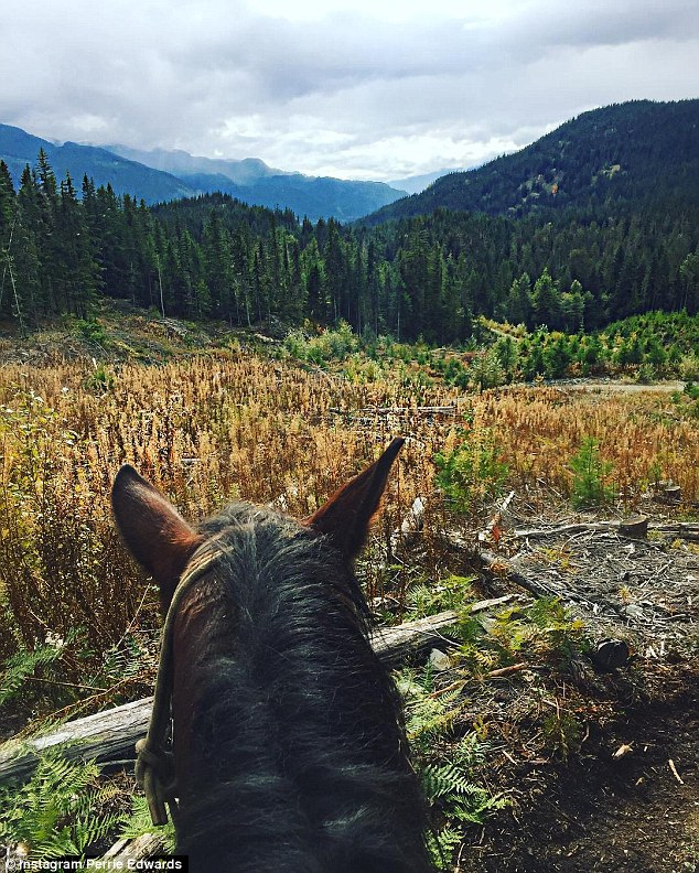 On the move: The starlet shared snaps of her horse-riding through a forest