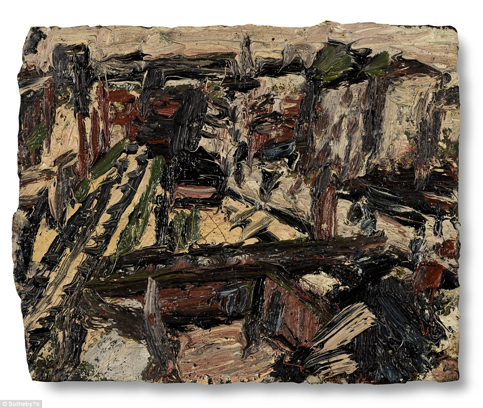 Dalston Junction No. 3, by Leon Kossof, above, is one of the pieces on display, expected to fetch between £60,000 and £80,000 at auction. This image showsa view of the rail tracks between Canonbury and Hackney observed every day from Kossof's studio between 1972 and 1975, and a part of London that resonated with him