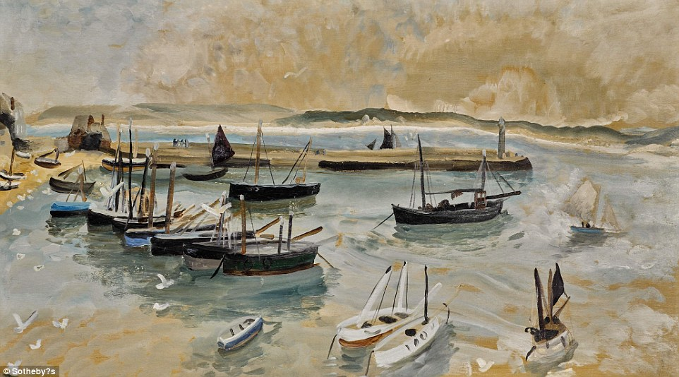 St Ives Harbour, by Winifred Nicholson, was painted in 1928 as part of a collection by three artists who escaped the city for a seaside change of pace. It will take between £50,000 and £70,000